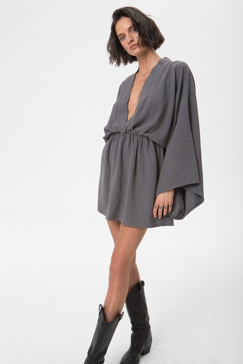 DALIA DRESS DUSTY GRAY